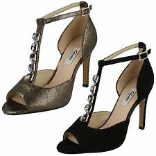 1d69a582b LADIES CLARKS LEATHER T BAR JEWEL PEEP TOE HEELED OCCASION SANDALS CURTAIN  CRUSH