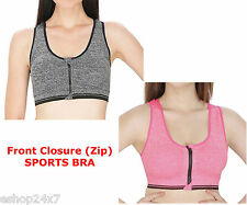 Sports Bra Full Cup Padded with Front Zipper Closure (Removable Cups)Stretch Fit