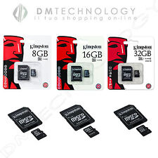 MICRO SD KINGSTON 8GB 16GB 32GB CLASSE 4/10 MEMORIA SECURE DIGITAL + ADATTATORE