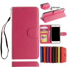 Magnetic Flip Cover PU Leather Wallet Card Slot Stand Case For iPhone iPod