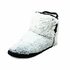 Grey fluffy slippers boots with black piping