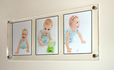 "Acrylic 32x14"" x10mm multi floating wall picture photo frame for 3x 10x7"" photos"