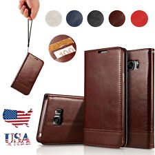 For Samsung Galaxy S8 S7 Magnetic Flip Cover Stand Wallet Genuine Leather C