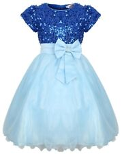 Beautiful Girls Sequin Sapphire Blue Princess Party Occasion Dress Tulle - SALE