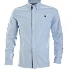 Fred Perry Men's Gingham Trim Oxford Long Sleeve Shirt Blue M8270-146