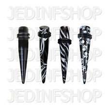 Ear Taper Stretcher Expander - Skulls Zebra Marble - 1.6mm To 20mm - Acrylic