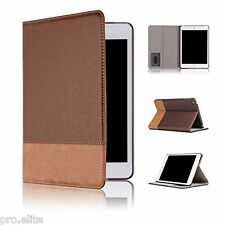 Qinda Luxury PU Leather Smart Flip Case cover for Apple iPad Air (Light Brown)
