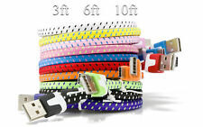 LOT Braided Flat Rope USB 3.1 Type-C Sync Charge Cable For ZTE Z Max Pro Z9