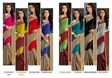 New Designer Sari Indian Saree Fabric Soft Cotten Silk Party wear Saree Blouse