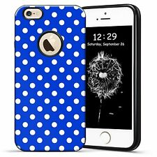 Blue Polka dot Classic Hybrid Case Textured TPU Cover For iPhone SE 5S 6 6S