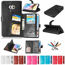 For Samsung S6 S7 Edge Magnetic Stand Wallet PU Leather Card Holder Case Co
