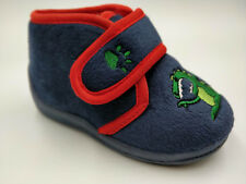 Boys Bedroom Slippers Navy Dinosaur Childs childrens Sizes 4,5,6,7,8,9,10