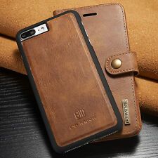 For iPhone 7/ 7 Plus Genuine Leather Removable Wallet Card Slot Case Flip C