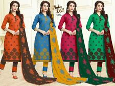DESIGNER CHURIDAR SALWAR KAMEEZ SUIT COTTON DRESS MATERIAL FREE SHIPPING