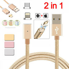 2in1 Magnetic Lightning USB Charger Charging Cable Fr iPhone 6s Plus Samsun