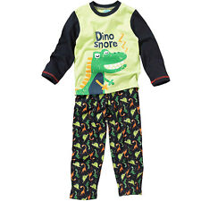 Bedlam Younger Boys Cute Dinosaur Snore ZZZ Printed Long Pyjamas Green Navy