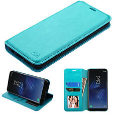 for Samsung GALAXY S8 / S8 PLUS TEAL WALLET LEATHER SKIN ACCESSORY COVER CA