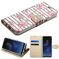 PINK BLACK ROSES DIAMOND WALLET SKIN COVER CASE for Samsung GALAXY S8 / S8