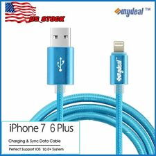 Heavy Duty MFI Lightning Metal Silk Braided Sync Charge USB Cable iPhone 7P