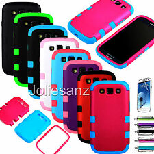 Triple Layer Tuff Hybrid Rubber Matte Hard Case For Samsung Galaxy S3 III i