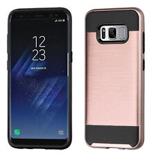 for Samsung GALAXY S8 / S8 PLUS ROSE GOLD BRUSHED SKIN case Cover +SCREEN F