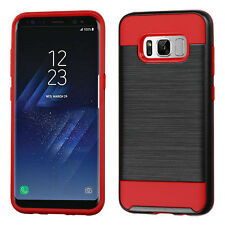 for Samsung GALAXY S8 / S8 PLUS RED BRUSHED SKIN case Cover + CLEAR SCREEN