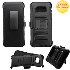 for Samsung GALAXY S8 / S8 PLUS BLACK ARMOR RUGGED CLIP CASE COVER + SCREEN