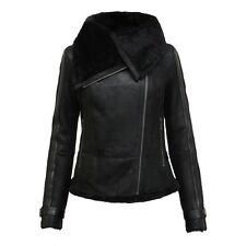 Brandslock Womens Genuine Leather Biker Jacket  Vintage Full Collar