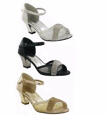 NEW Ladies Low Heel Diamante Evening Party Sandals Shoes Black Silver Gold Size
