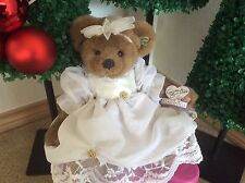 Sweet Annette Funicello Jointed Teddy Bear w Tags Fancy White Wedding Dress Bow