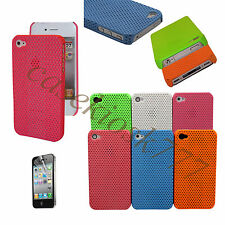 for iPhone 4 4g 4S phone case perforated six color hard back pls scren prot