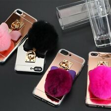 Soft TPU Silicone Gel Fur Pom Pom Ball Case Cover for Apple iPhone 7 Plus 5