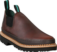 Georgia Giant Mens Soggy Brown Leather Romeo Steel Toe Loafers Work Shoes