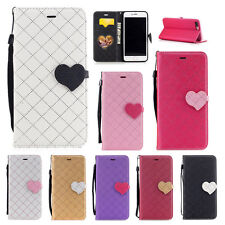 Love Heart Pattern Flip Leather Wallet Stand Case Cover for iPhone 7 Plus/6