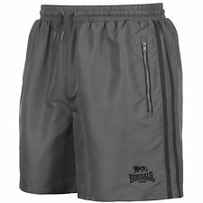 MENS GREY STRIPE LONSDALE LONDON BOXING GYM WOVEN MESH LINED ELASTICATED SHORTS