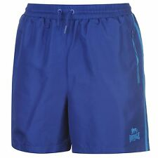 MENS BLUE STRIPE LONSDALE LONDON BOXING GYM WOVEN MESH LINED ELASTICATED SHORTS