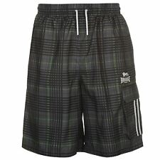 MENS BLACK CHECK LONSDALE BOXING GYM MESH LINED BEACH BOARD CARGO SHORTS