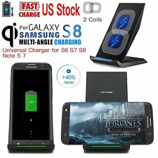 Qi Fast Wireless Charger Samsung S7 Edge S8 + Charging Stand Galaxy Note 5