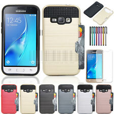 Card Pocket Armor Rubber Hard Phone Case Cover For Samsung Galaxy Express 3