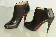$1125 New CHRISTIAN LOUBOUTIN Belle 100 Eden Brown Ankle Boots Shoes 36.5 38.5