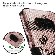 Black ROSE GOLD FLOWER TUFF PROTECTOR case Cover for Samsung GALAXY S8 / S8