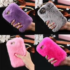 Luxury Bling Rabbit Fur Back Soft TPU Silicone Shockproof Case Cover For iP