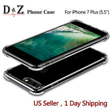 For Apple iPhone 7 Plus Case Clear Hybrid Slim Shockproof Rubber Soft TPU C