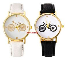 Bicycle Photo Dial Leather Strap Analog Quartz Novelty Wrist Watch Watches Gift