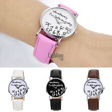 Women Fashion Synthetic Leather Large Dial Letter Quartz Analog Wrist LEBB01