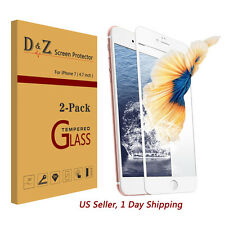 D&Z 2Pcs 3D Full Coverage Tempered Glass Film Screen Protector for iPhone 7