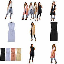 Womens Ladies Sleeveless Tie Belted Midi Duster Jacket, Cape