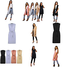 Womens Ladies Sleeveless Tie Belted Midi Duster Jacket, Cape, Cardigan