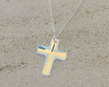 925 Sterling Silver Necklace Swarovski Elements Crystal Cross Crucifix Clear AB