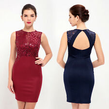 Women Sexy Sleeveless Sequins Bodycon Party Evening Cocktail Short Mini Dress